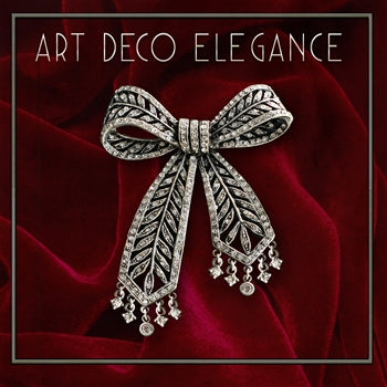 Art Deco Crystal Bow Brooch Pin P219 - sweetromanceonlinejewelry