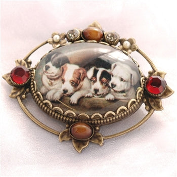 Vintage Christmas Puppies Pin