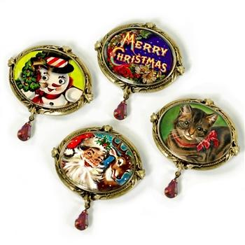 Set of 4 Christmas Pins P338 - sweetromanceonlinejewelry