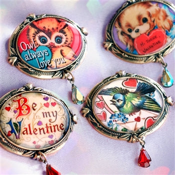 Retro Love Set of FOUR Valentines Pins P347 - sweetromanceonlinejewelry