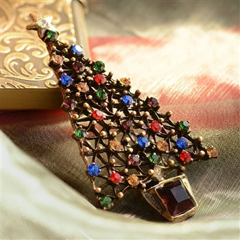 Jewel Tree Christmas Pin