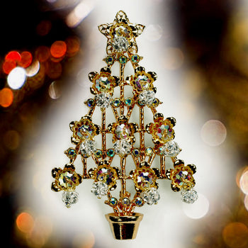 Christmas Tree Pin - Gold & Crystal