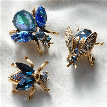 Set of 3 Vintage Bee Pins Exotic Blues P5280 - sweetromanceonlinejewelry