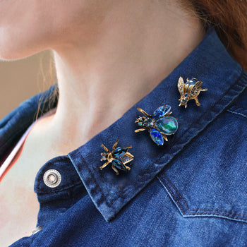 Set of 3 Vintage Bee Pins Exotic Blues P5280-BL