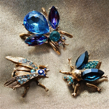 Set of 3 Vintage Exotic Bee Pins Heliotrope P5280