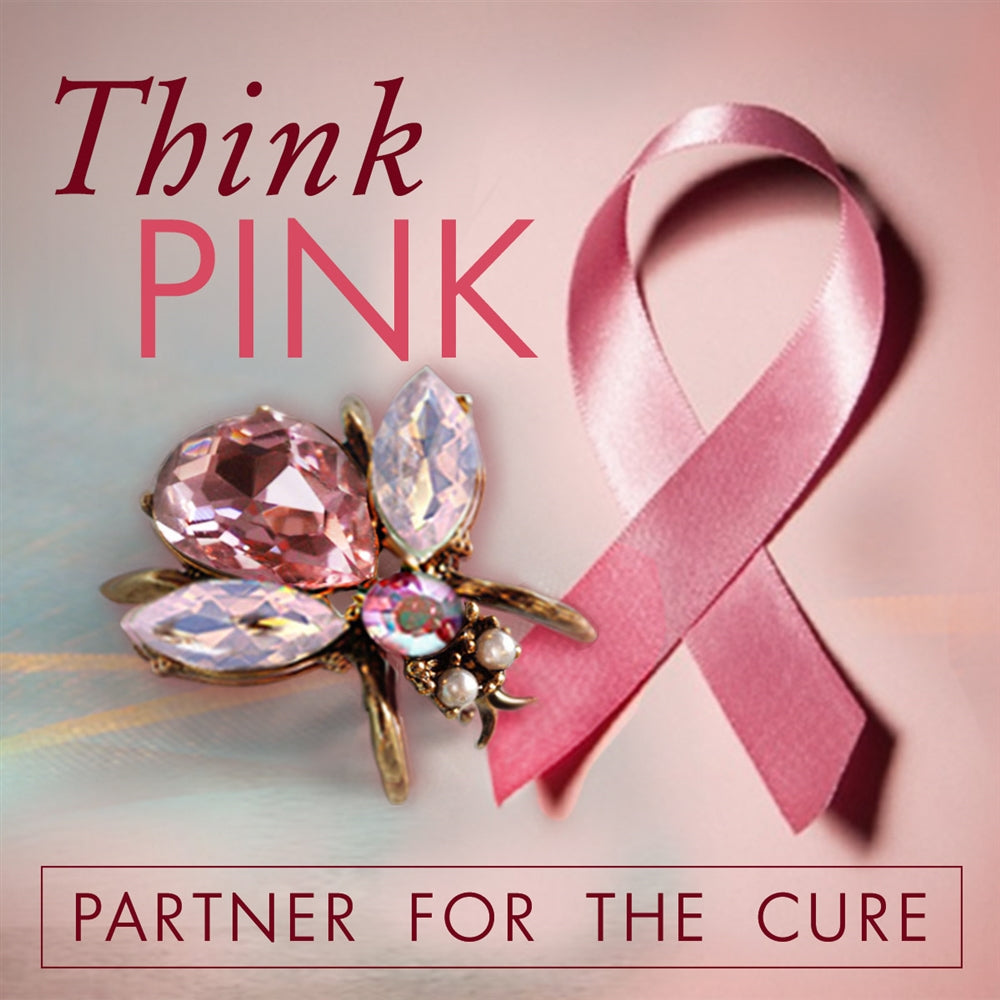Think Pink Breast Cancer Awareness Bee Pin P5280-PINK - sweetromanceonlinejewelry