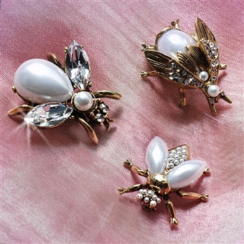 Set of 3 Pearly Girl Bee Pins Silver and Gold P5280