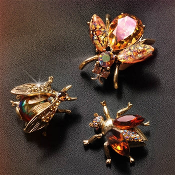 Set of 3 Vintage Exotic Bee Pins Topaz P5280 - sweetromanceonlinejewelry