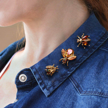 Set of 3 Vintage Exotic Bee Pins Topaz P5280