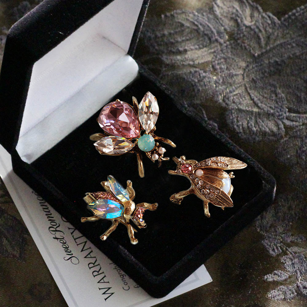 Set of 3 Vintage Bee Pins Opal Pastels P5280-OP