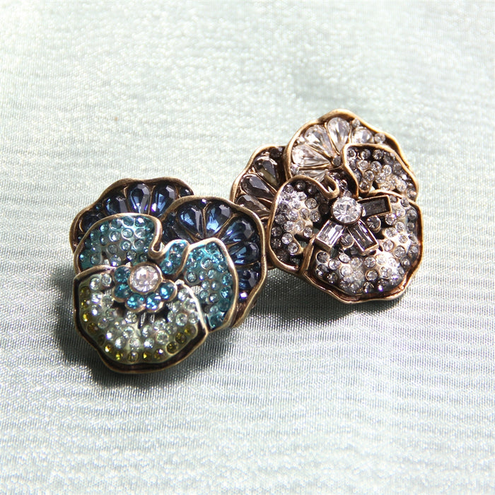 Pave Crystal Pansy Pins P909 - sweetromanceonlinejewelry