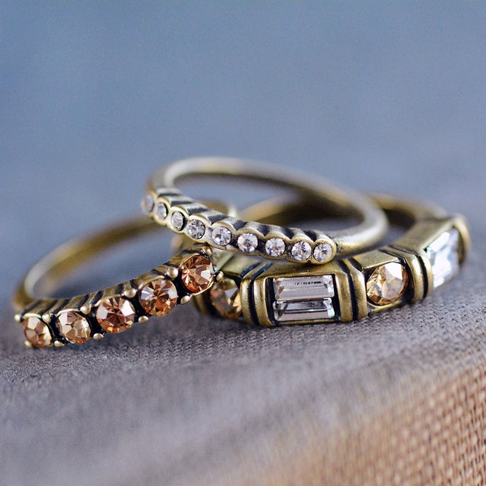 Set of 3 Harmony Bronze Gold Stacking Rings