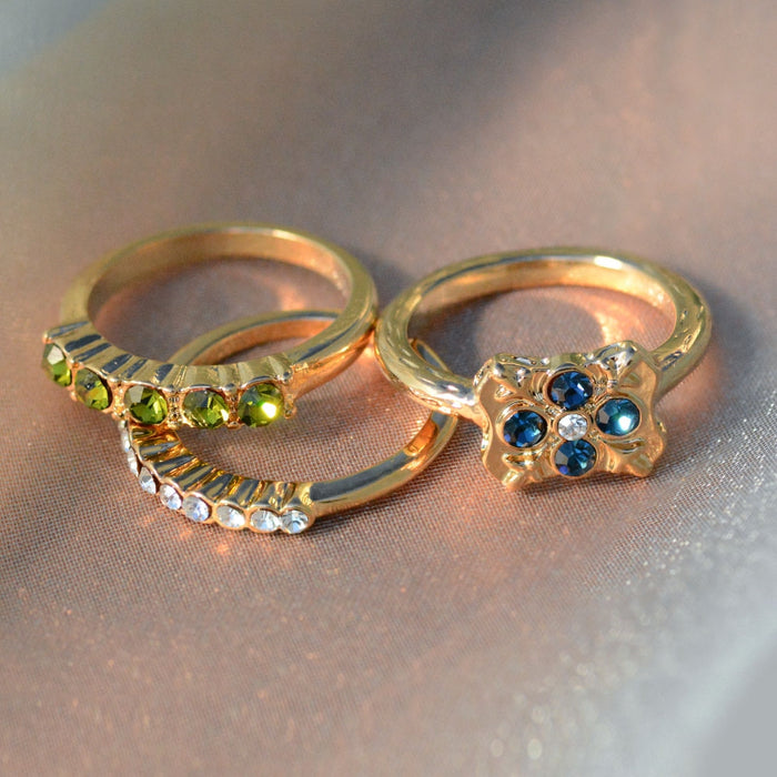 Set of 3 Balance Gold Stacking Rings - Size 6