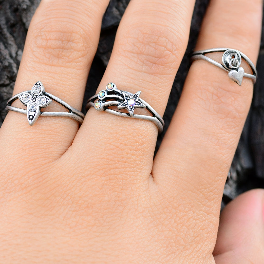 Set of 3 Adjustable Finger Ring or Toe Rings