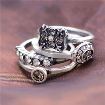 Florence Crystal Stack Rings Set R1121 - sweetromanceonlinejewelry