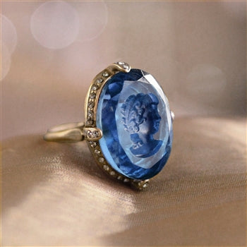 Faceted Glass Oval Intaglio Ring