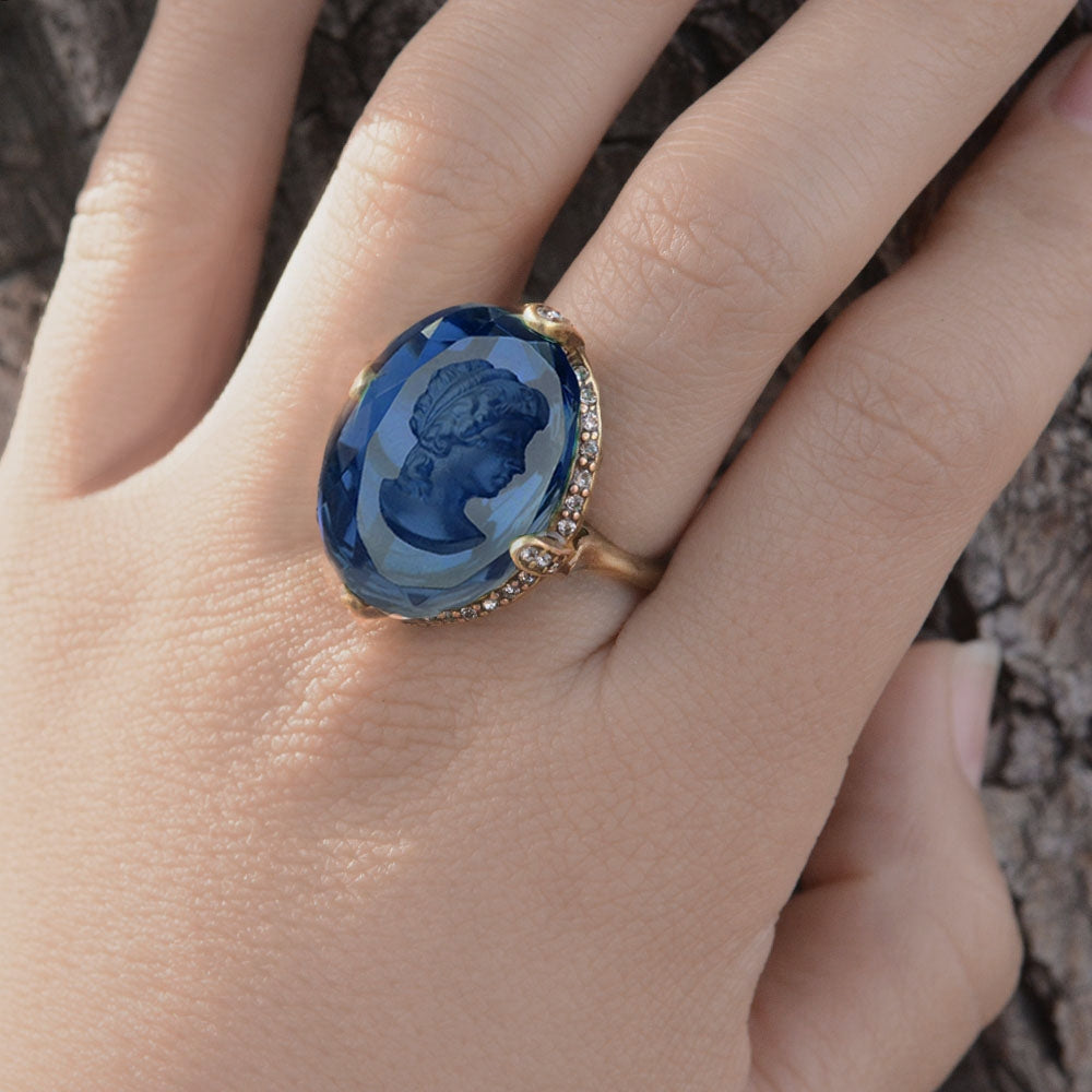 Faceted Glass Oval Intaglio Ring R130 - sweetromanceonlinejewelry