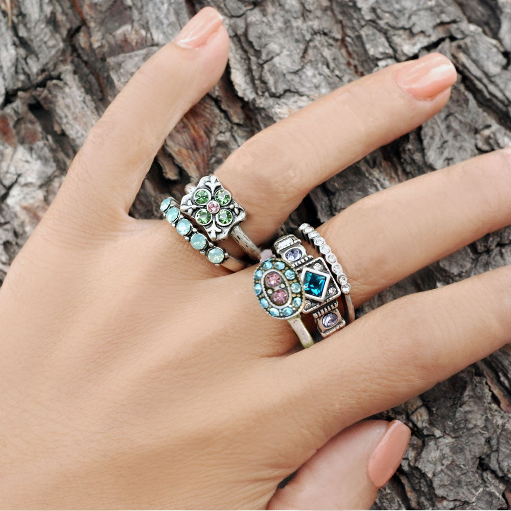Set of 5 Italian Renaissance Stacking Rings R1666 - sweetromanceonlinejewelry