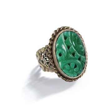Vintage Jade Glass Deco Ring R515 - sweetromanceonlinejewelry