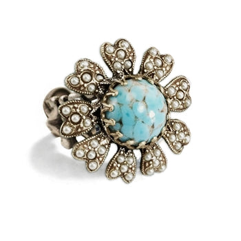 Turquoise & Pearl Flower Ring