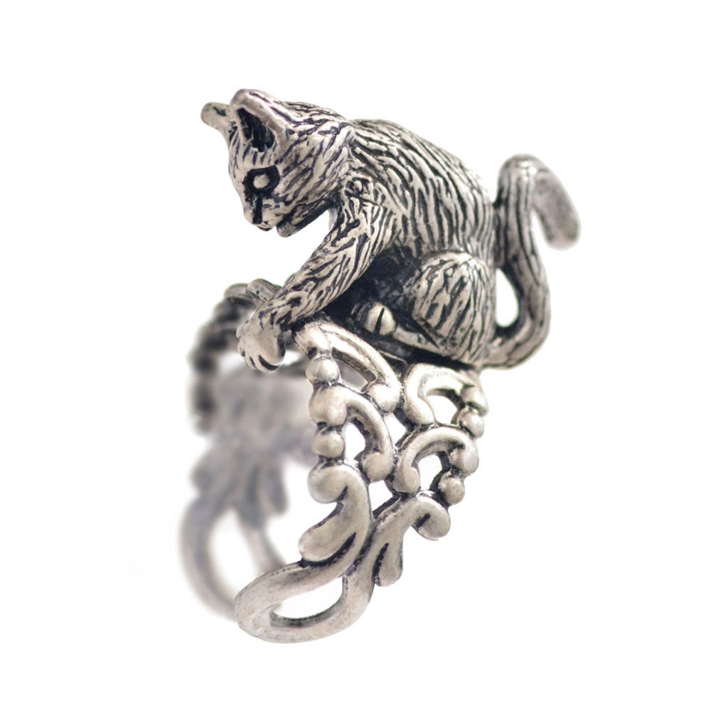 Cat Sculpture Ring R528 - sweetromanceonlinejewelry
