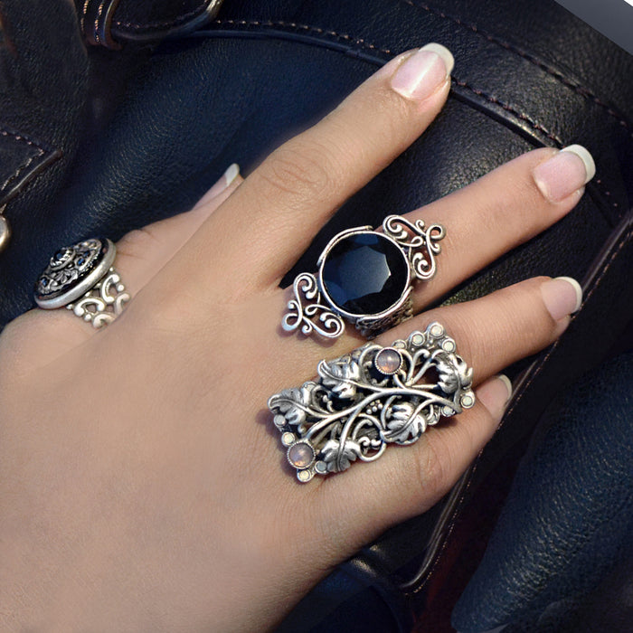 French Jet Black Silver Artifact Ring Set