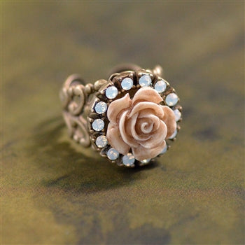 Ivory Carved Rose Ring