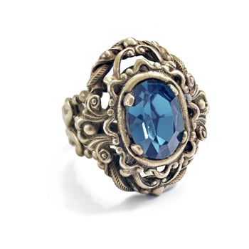 Vintage London Blue Stone Ring R543 - sweetromanceonlinejewelry