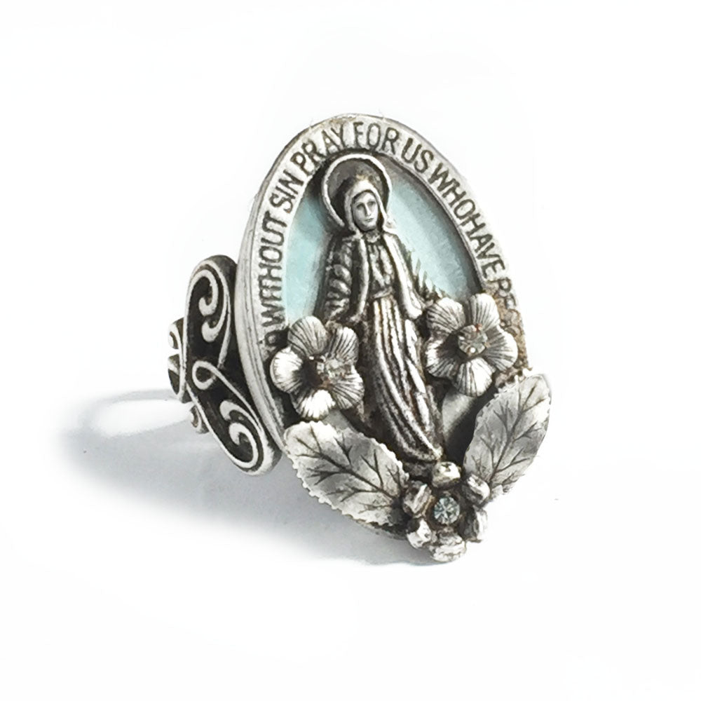 Our Lady of Miracles Virgin Mary Ring R546 - sweetromanceonlinejewelry