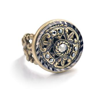 Window Medallion Ring R551 - sweetromanceonlinejewelry