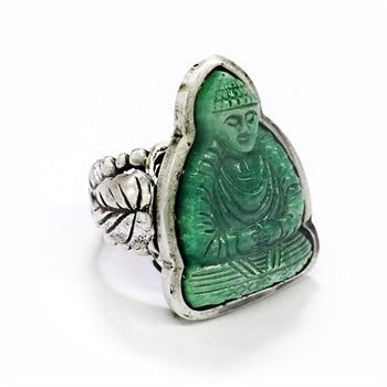 Vintage Jade Glass Buddha Ring R567 - sweetromanceonlinejewelry