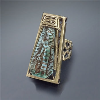 Blue Goddess Vintage Egyptian Ring R568 - sweetromanceonlinejewelry