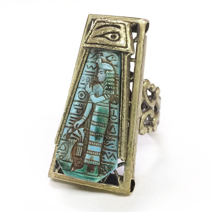 Blue Goddess Vintage Egyptian Ring R568