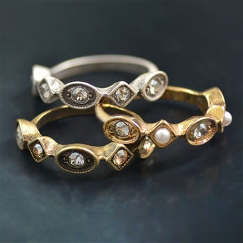 Vintage Crystal & Pearl Stacking Ring $17.99 Value (Gift with 1st Purchase)