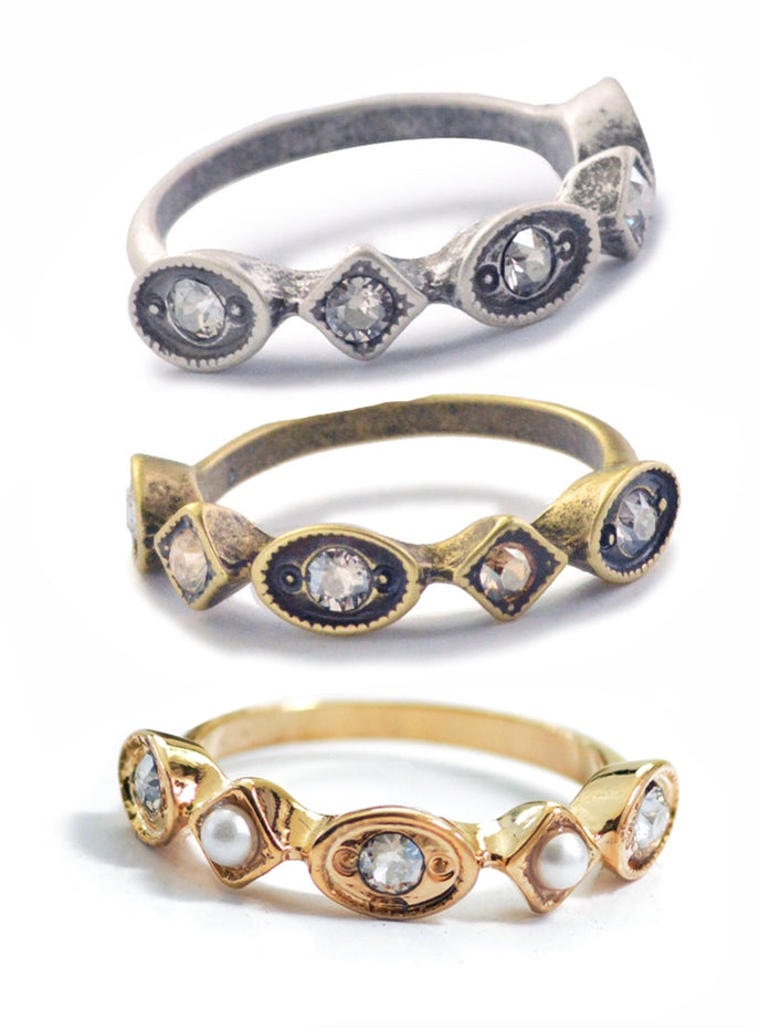 Vintage Crystal & Pearl Stacking Ring R600 - sweetromanceonlinejewelry