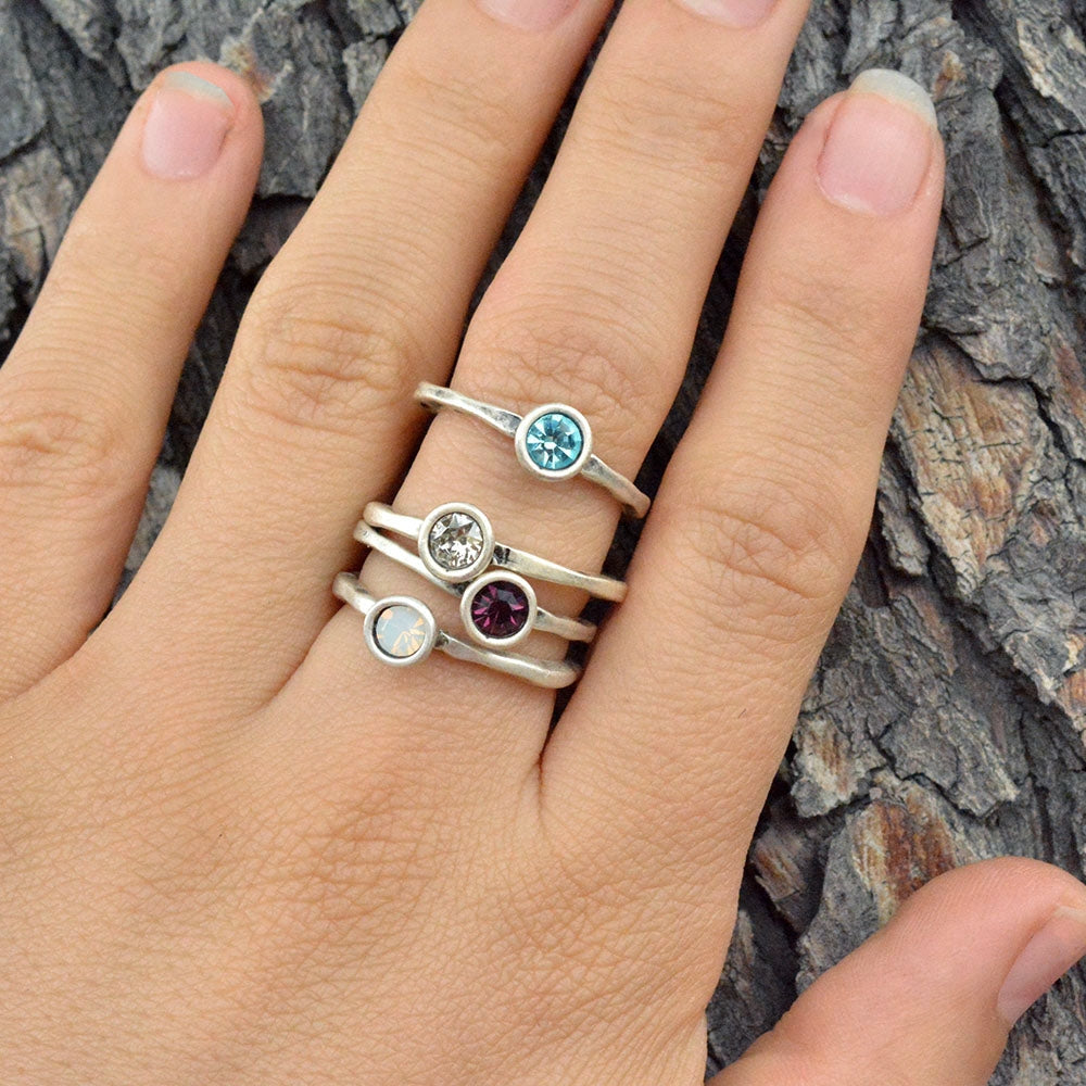 Swarovski Crystal Solitaire Birthstone Stacking Rings R601 - sweetromanceonlinejewelry