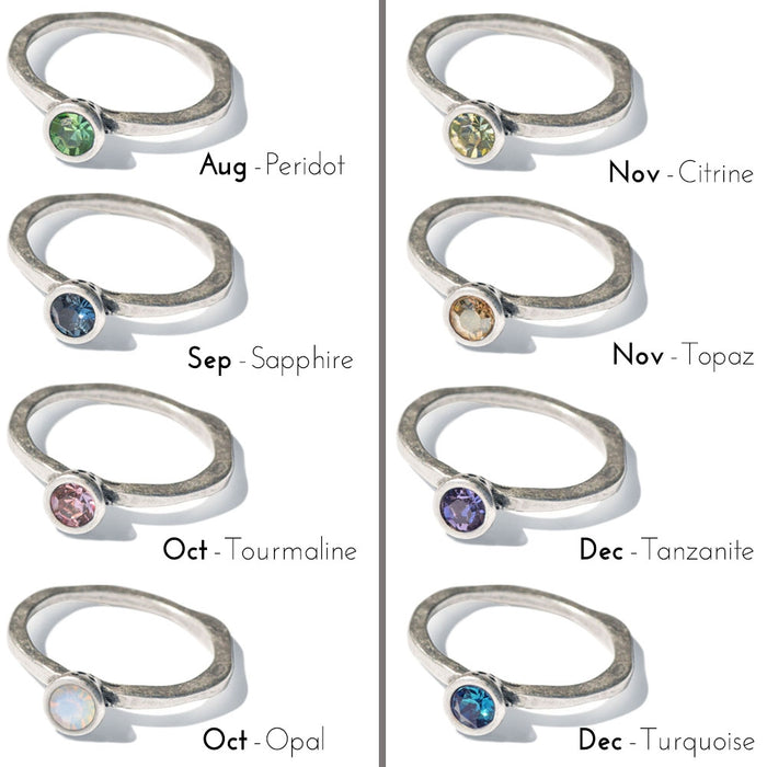 Swarovski Crystal Solitaire Birthstone Stacking Rings