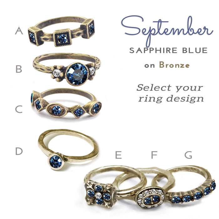 Stackable September Birthstone Ring - Sapphire Blue
