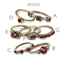 Load image into Gallery viewer, Garnet Red Crystal Stacking Rings