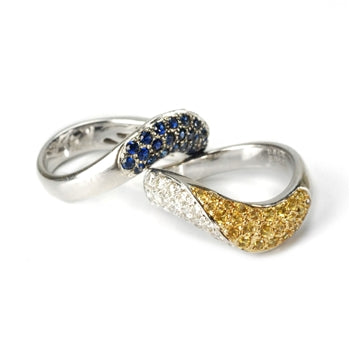 Vintage Vault: Diamond and Sapphire Stack Rings Set - 18K, Sapphires & Diamonds