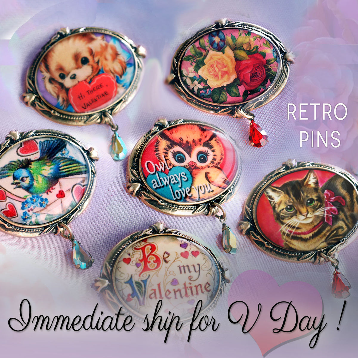 Retro Love Set of 6 Valentines Pins