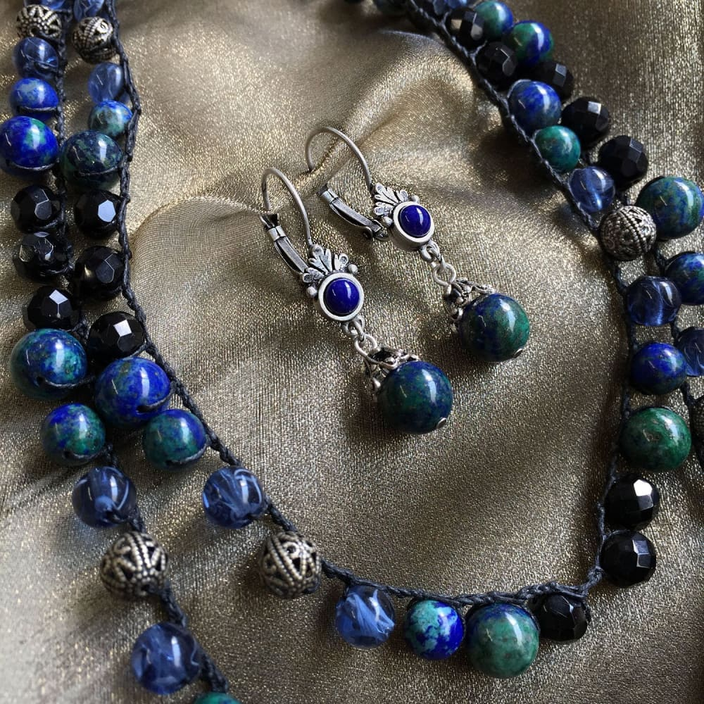 Gemstone Bead Necklace - Malachite or Jasper - Set N and E Blue Green - Necklace