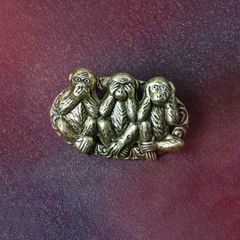 Speak no, See no, Hear no evil Monkey Brooch P661 - sweetromanceonlinejewelry