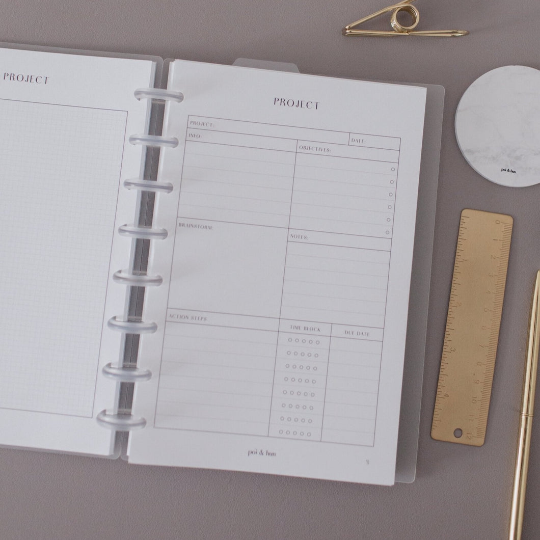 Project Planner Inserts // Half Letter Discbound
