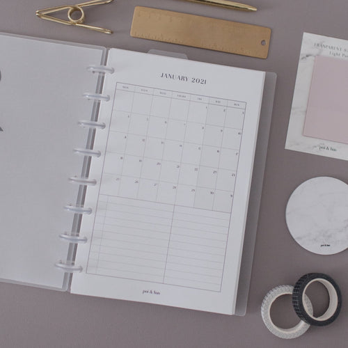 2021 Month On 1 Page (MO1P) Planner Inserts | Monday Start // Half Letter Discbound