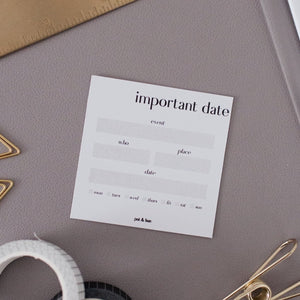 Important Date Journaling Card (Set of 10)