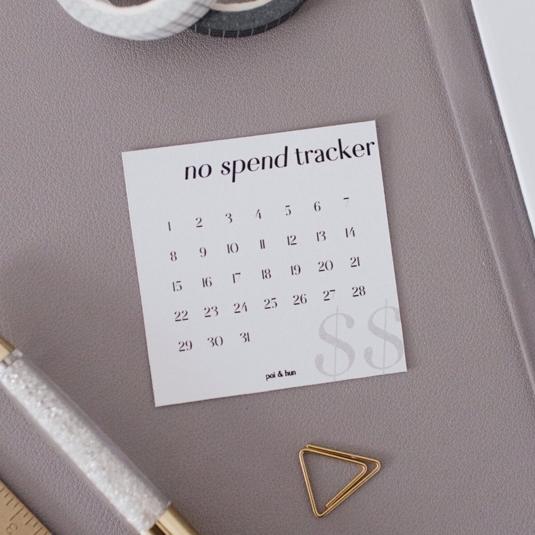 No Spend Tracker Journaling Card (Set of 12)