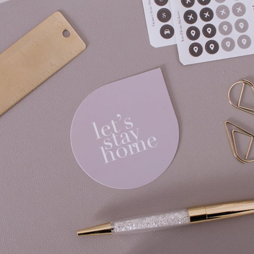 Let's Stay Home Raindrop Note Card