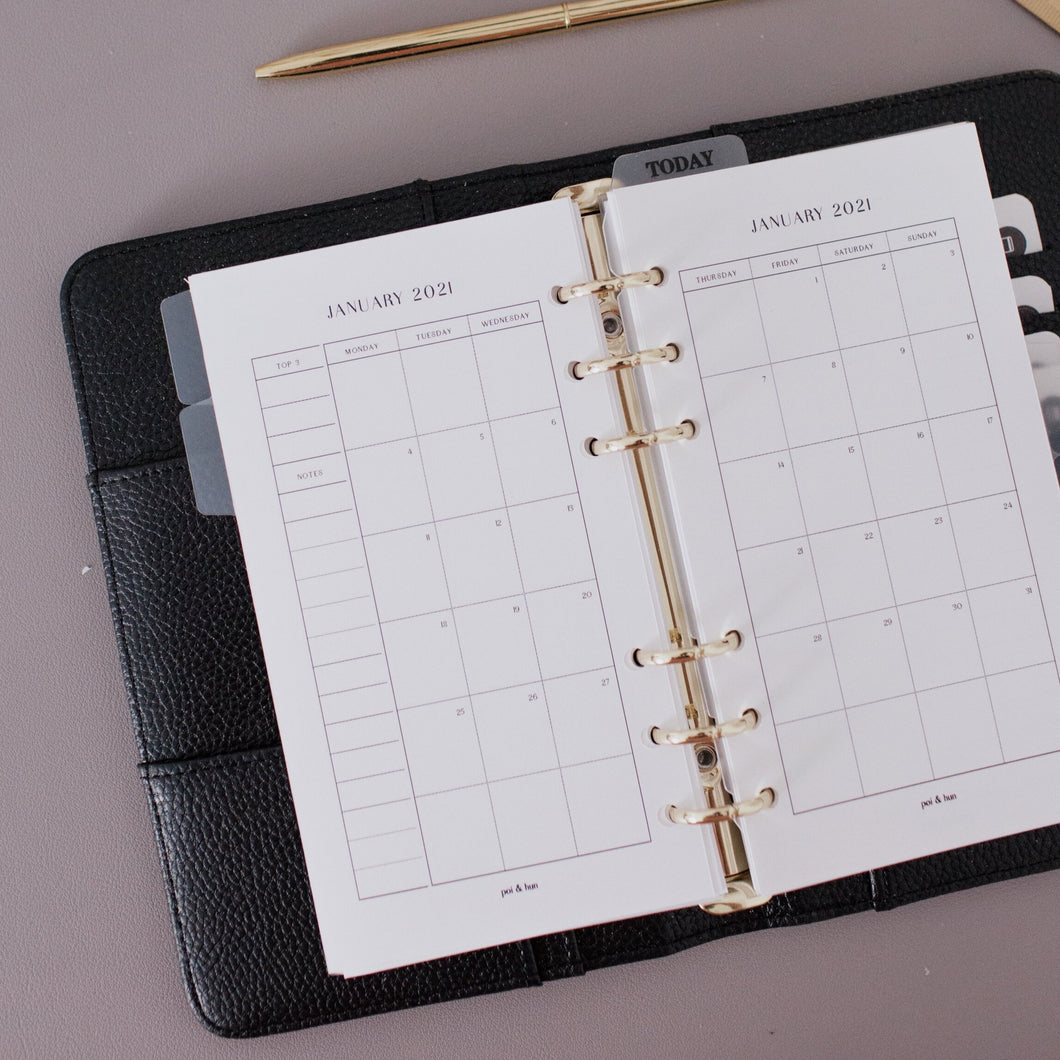 2021 Yearly + Monthly Planner Inserts | Monday Start