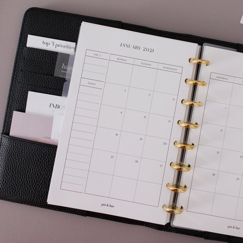 2021 Yearly + Monthly Planner Inserts | Monday Start // Half Letter Discbound